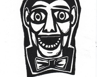 Magic  Dummy Ventriloquist Hand Pulled Linocut Block Print doll Puppet Creepy Cute Black and White smile teeth bow tie funny art vaudville