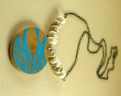 Hand printed wood pendant with howlite necklace