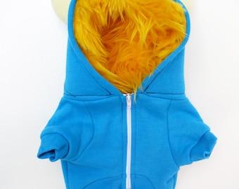 Dog  Monster Hoodie - Aqua with Yellow - Size XSmall - Pet - monster hoodie, horned sweatshirt, custom jacket