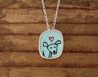 Happy Dog Necklace -  Sterling Silver and Vitreous Enamel Dog Pendant with Original Drawing