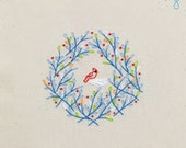 Tweet Wreath INSTANT DOWNLOAD PDF embroidery pattern