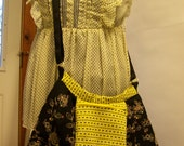 Adjustable Cross Body - Recycled Sequined Skirt Tote Lined with Bright Yellow - YazBerry - Handmade