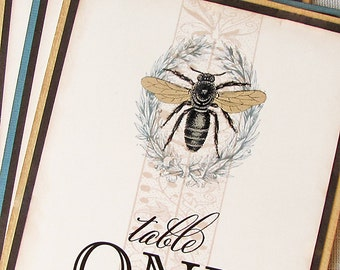 Vintage Bee and Laurel Wreath Table Numbers