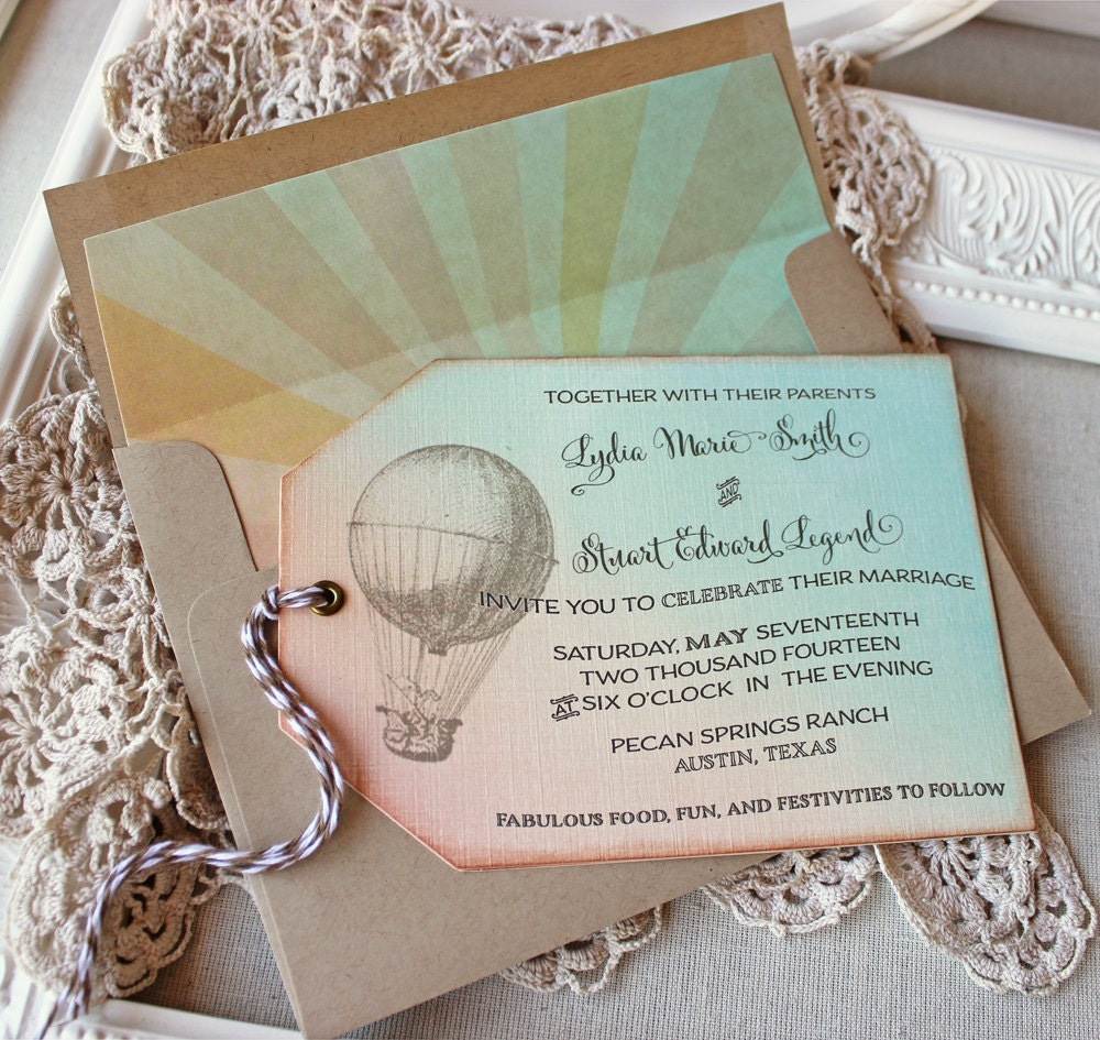 Wedding Invitation Hot Air Balloon Vintage By