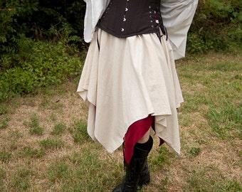 Natural Linen Pixie Skirt Halloween Renaissance Costume