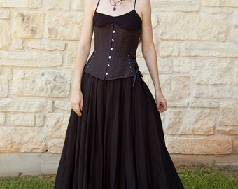 Black Linen Renaissance Skirt - Halloween Costume - Long Skirt - Peasant Costume - Ren Faire Garb - Womens Medieval Clothing - SCA LARP