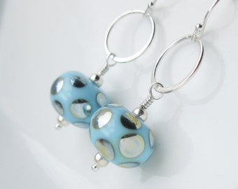 Reflections Lampwork Earrings In sterling silver Sky blue and silver