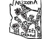 "Arizona state linoleum block print with text + state bird and flower - 9""x12"" wall art"