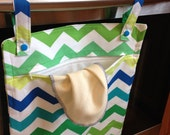 Lagoon Chevron Hanging Kitchen Wetbag - 13x20 laundry bag for your kitchen