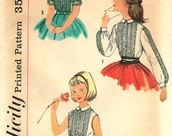 1960's // Girls' BLOUSE PATTERN // Size 6 // Tucked bodice // Long Short Sleeves or Sleeveless // Vintage Sewing // Simplicity 2166