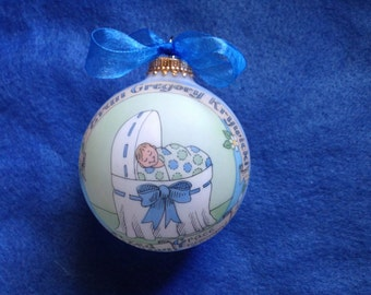 Baby Boy Baptism Ornament, Baby in the Bassinet Personalized, Handpainted, and totally Original, without Display Stand