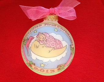 BABY'S FIRST CHRISTMAS Ornament for a baby girl, Baby in the Moon Personalized Ornament, Handpainted, Personalized, Original design