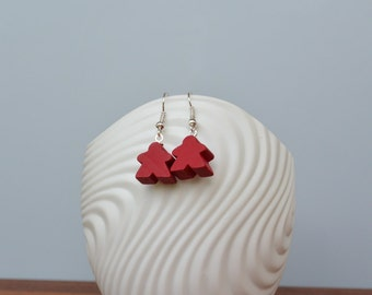 Red mini Carcassonne meeple earrings with nickel-free silverplated earwires
