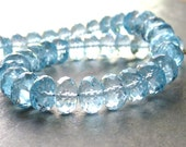 AAA Swiss Blue Topaz Faceted Rondelles - 8mm - 2 Beads - Matched Pair