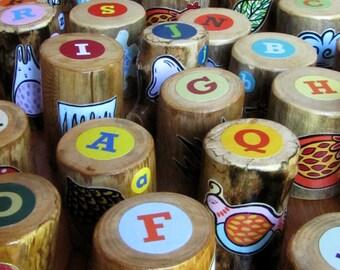 Woodland Alphabet Blocks - Set of 26 - Handmade - with Printed Original Illustrations - OOAK