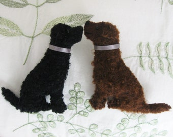 1 Curly Coated Retriever Brooch in Black or Liver with Gift Box
