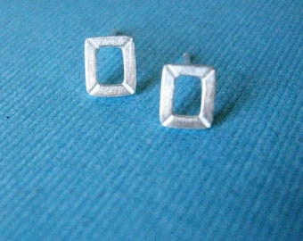 Sterling Silver Stud Earrings.  Miniature Rectangle Frame Post Earrings.