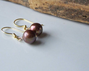 Etsy, Etsy Jewelry, Chocolate Freshwater Pearl Earrings, Brown Pearl Earrings, Bronze Pearl Earrings, Bridal Earrings, Goldfilled Earrings