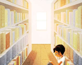 """Library Art, Book Lover Art, Reading Illustration, blank greeting card - """"Some of my best friends"""""""