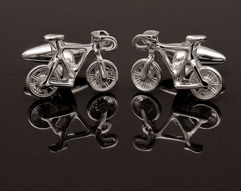 Sterling Silver Bicycle Cufflinks