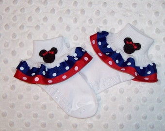 Minnie Mouse Applique Blue Dot and Red Dot Double Ruffle Ribbon Socks Disney Cruise Sailor