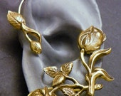 Flower and Leaf  Ear Wrap  -  ROSES  -  Brass Ear Cuff Wrap