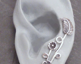 Sterling EAR PIN  Earring - EDEN  Single Silver Ear Sweep - Dramatic Different