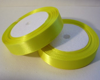 "Satin Ribbon (R53A) 3/4"" Bright Yellow - 25 yard Spool//Crafts DIY Wedding Streamers Dreamcatchers Bows Party Decor"