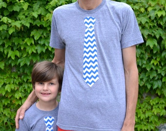 CHOOSE TWO SET Father Day for Dad Son Mens Boys Father's Day Tie Applique Shirt valentine's day T Shirt Kids- Chevron Fabric