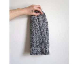Alpaca Knit Hat, Marled Grey, Ribbed Toque, Slouch Beanie, Folded Brim, Cloche, Charcoal Gray, Light Grey