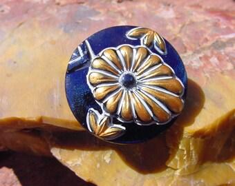 Navy Blue Antique Gold Flower Czech Glass Button