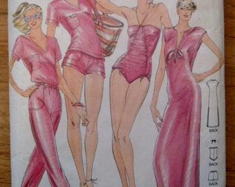 Vintage Swimsuit Pattern  - John Kloss Halter Ruched Swimsuit -  Butterick 3129 Pattern   Coverup - T-Shirt - Pants - Shorts