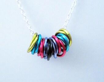 Colorful Graffiti Mobius Rings Necklace Handmade