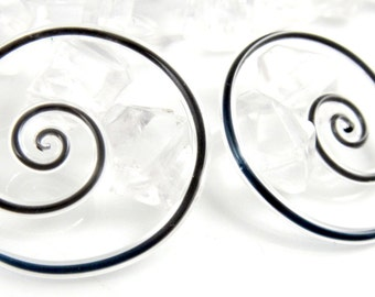 12G | Captured Raven | Mini Spirals | Gauged Glass Body Jewelry for Stretched Piercings by Glassheart
