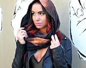 Galaxy Infinity Scarf // Hand Dyed // Hood // Black