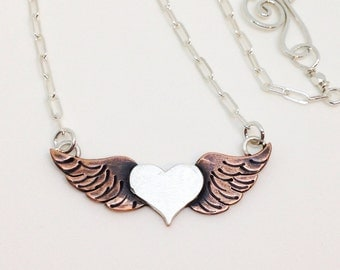 Heart with Wings necklace heart and wings sterling silver and copper