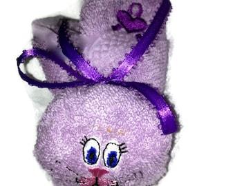 Purple Heart Boo-boo Bunny Rabbit Embroidered Basket Heart Ribbon