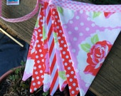 Bunting for Valentine's Day, Pink and Red Shabby Chic Fabric Flag Banner Photo Prop Birthday Party Decor.  Pennants, Medium Size Flags.