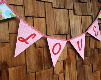Love Bunting Wedding Flag Banner Decoration. Colorful Fabric Photo Prop, ready to ship as shown.