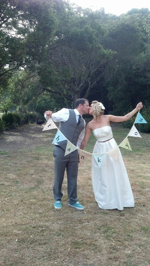 Flag Banner, Thank You Bunting, Photo Prop and Wedding Decoration in Sweet Vintage Toned Fabric Pennants..