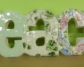 BROKEN CHINA MOSAIC shabby chic cottage sweet floral pastel words letters peace sign wall hanging shelf sitter