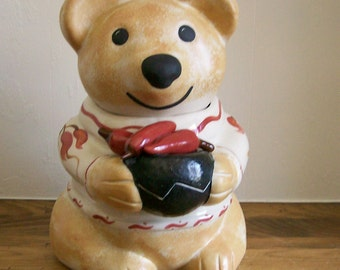 Cookie Jar Cute Bear from Santa Fe NM with Red Chiles Hand-Painted Pottery SW Design
