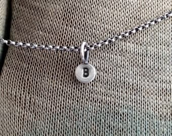 Personalized Tiny Initial Tag Stamped Sterling Silver Dot Paddle Charm