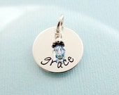 Personalized Name Charm with Birthstone - ADD ON Charm - Hand Stamped Sterling Silver Jewelry - Kids Name Birthstone Charm - Mommy Tags