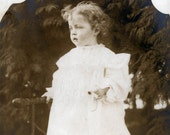RESERVED FOR DAWN vintage photo Dreamy Beauty Child Holds Daisy on Adirondack Bench 1900