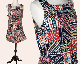 Vintage 70s Dress / Floral Patchwork Dress / Mini Dress