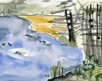 Plein air watercolour work on paper  ORIGINAL drawing  painting  The DUCK POND //  ooak  Vang paper