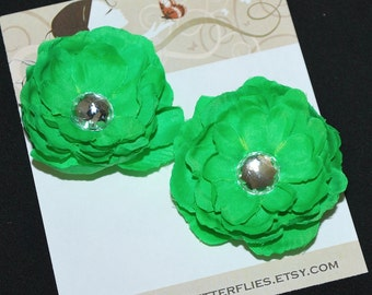 Green Flower Hair Clips - Buy 3 Items, Get 1 Free