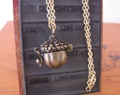 Gold Acorn Locket Charm Necklace Vintage Style by Alice Wears Gold