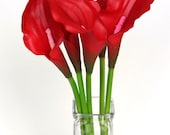 Artificial Lily Flower -  Medium Latex Calla Lily in Red - 20 Inch Stem
